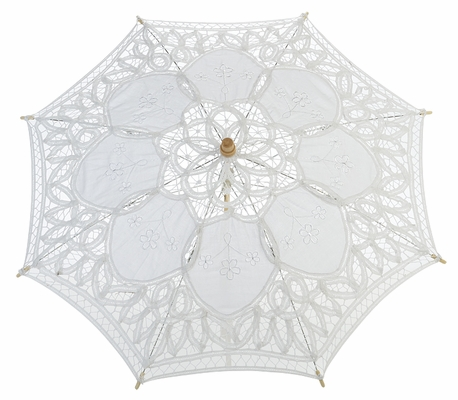 22 Quot White Lace Cotton Fabric Parasol Umbrella W Metal