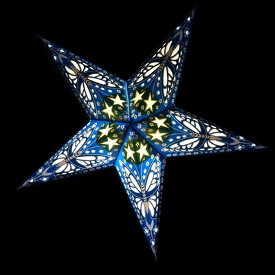 24 Inch Blue Butterfly Paper Star Lantern Hanging