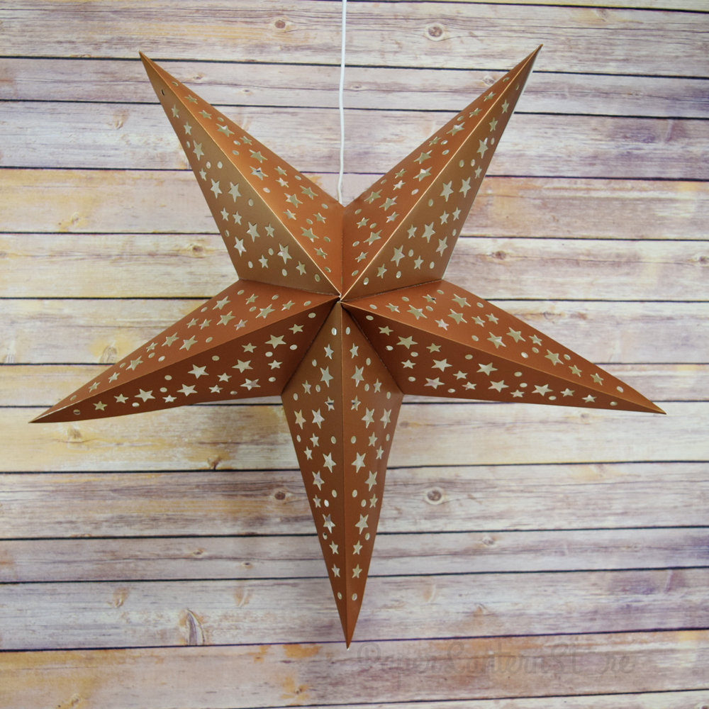 24 Copper Gold Cut Out Paper Star Lantern Hanging Light