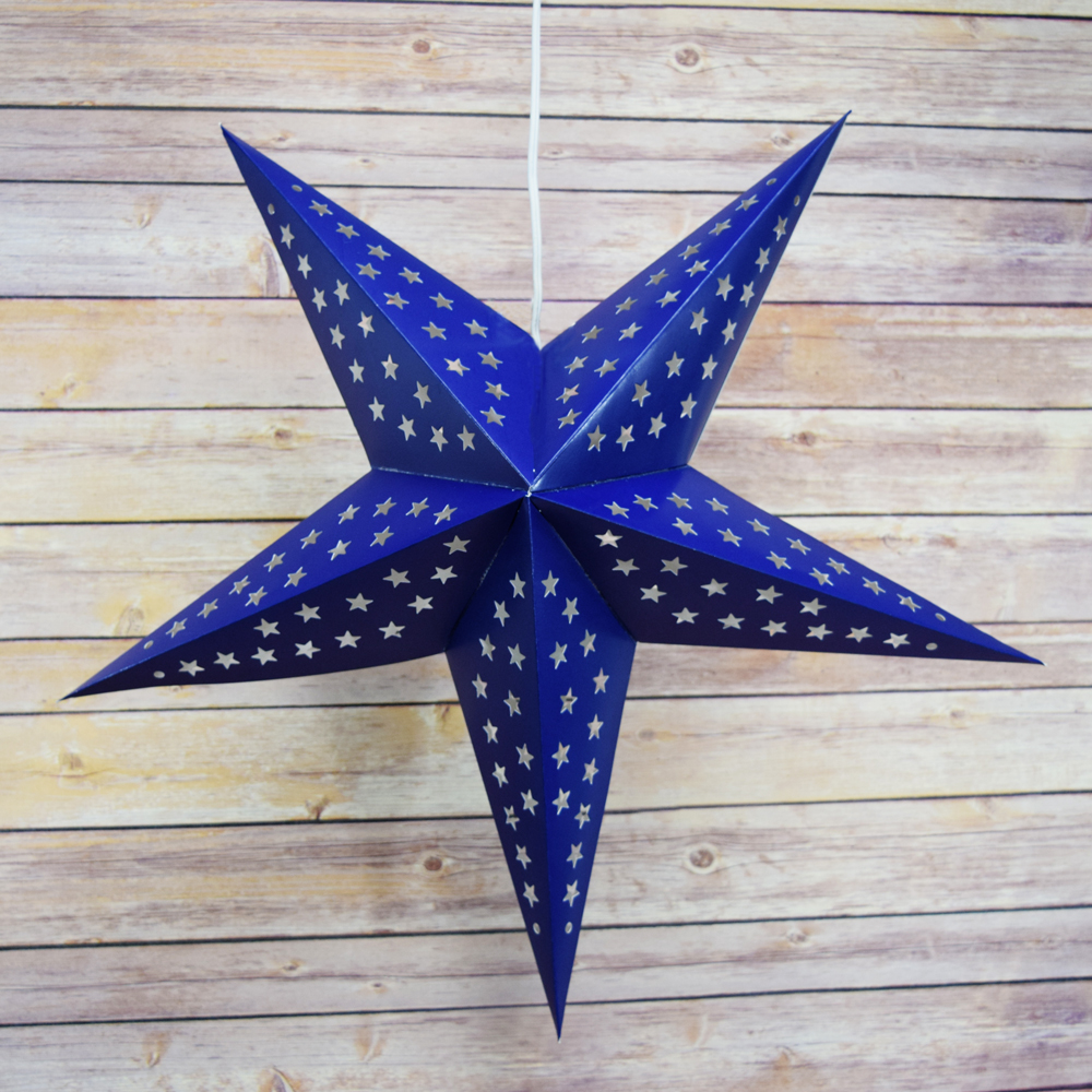 Navy dark blue cut out paper star lantern hanging for Paper star lamp