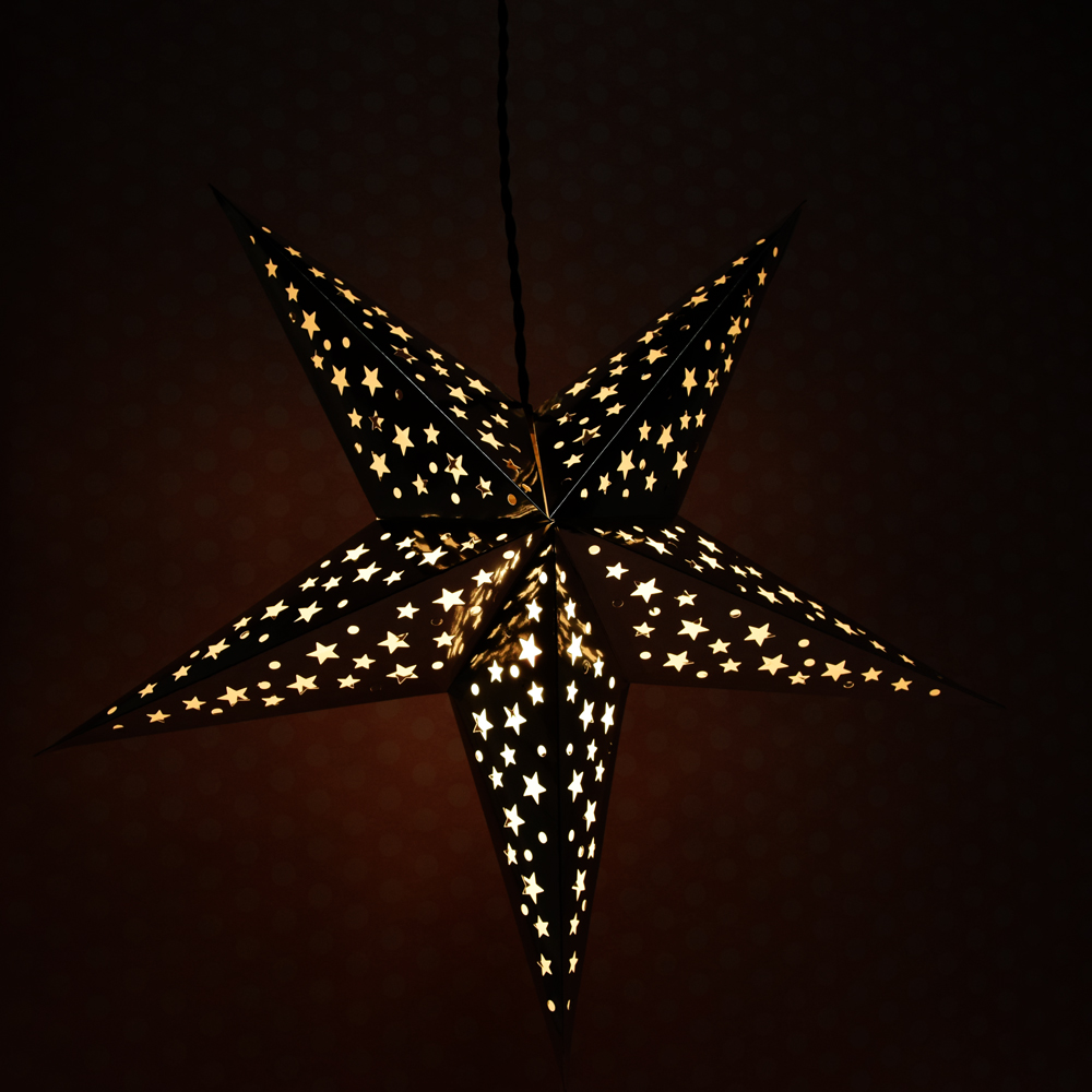 24 Silver Foil Cut Out Paper Star Lantern Hanging