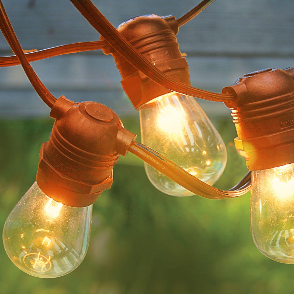 Can You Cut Outdoor String Lights: 24 Socket Outdoor String Light S14 Bulbs 54FT Brown Cord W