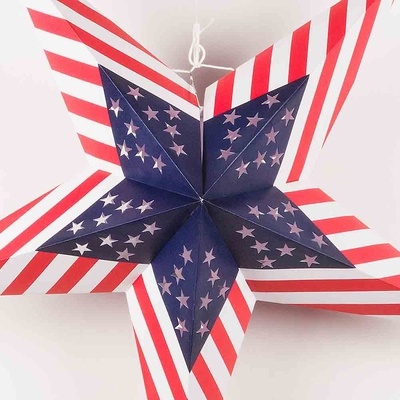 24 Quot Usa Flag Red White Blue Paper Star Lantern Hanging