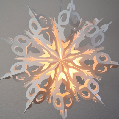 24 Quot White Winter Frozen Snowflake Paper Star Lantern