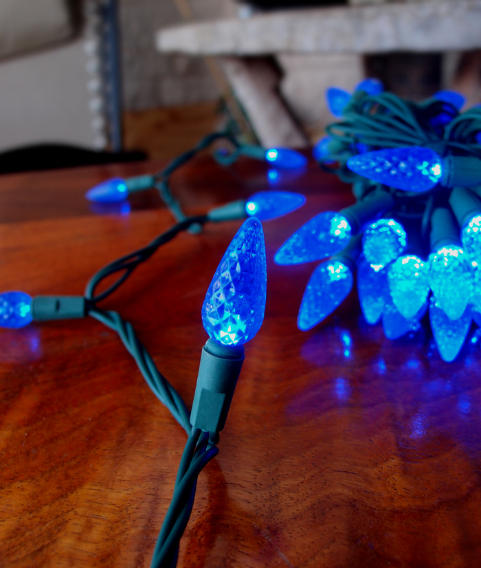 C7 String Lights Outdoor : 25 Outdoor Blue LED C7 Strawberry String Lights, 16.6FT Green Cord eBay