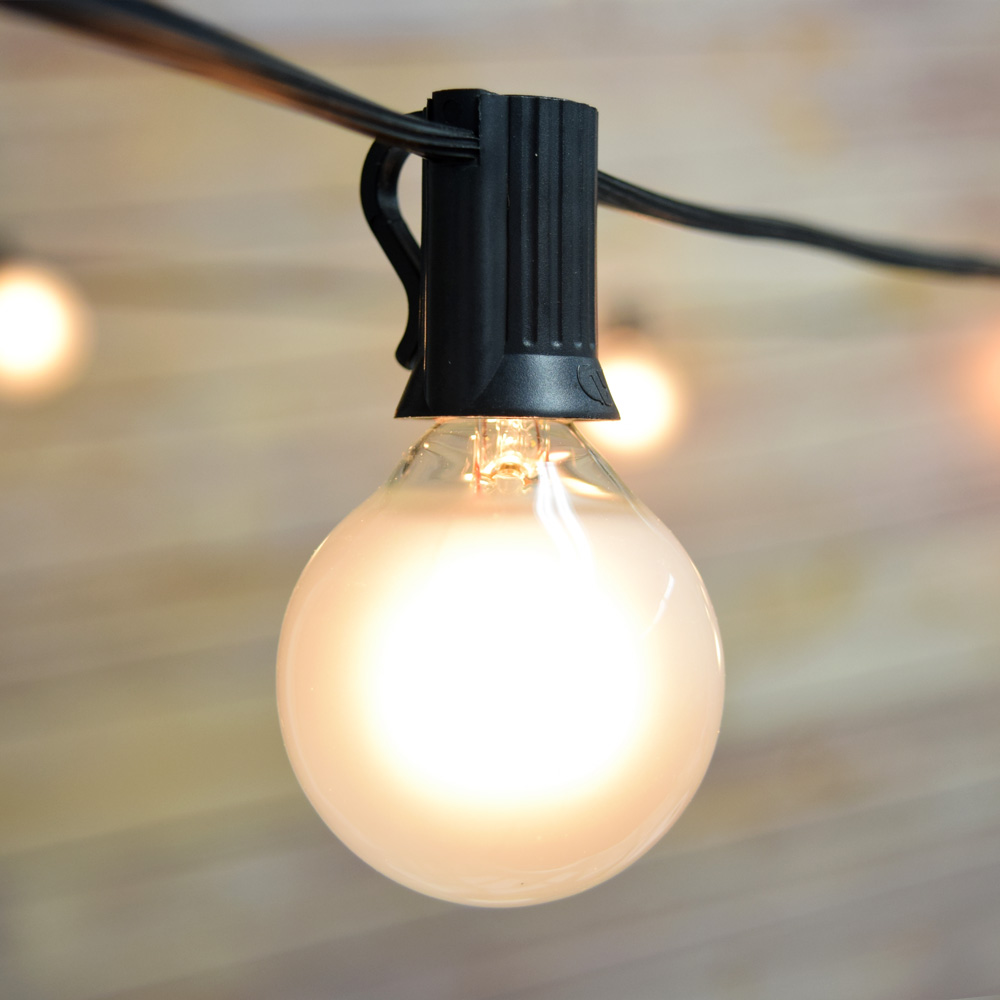 Globe String Lights With Black Cord : 25 Socket Outdoor Patio String Light G40 Frosted Globe Bulbs, 28 FT Black Cord eBay