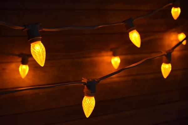 Yellow LED 25 Socket Outdoor Commercial String Light Set