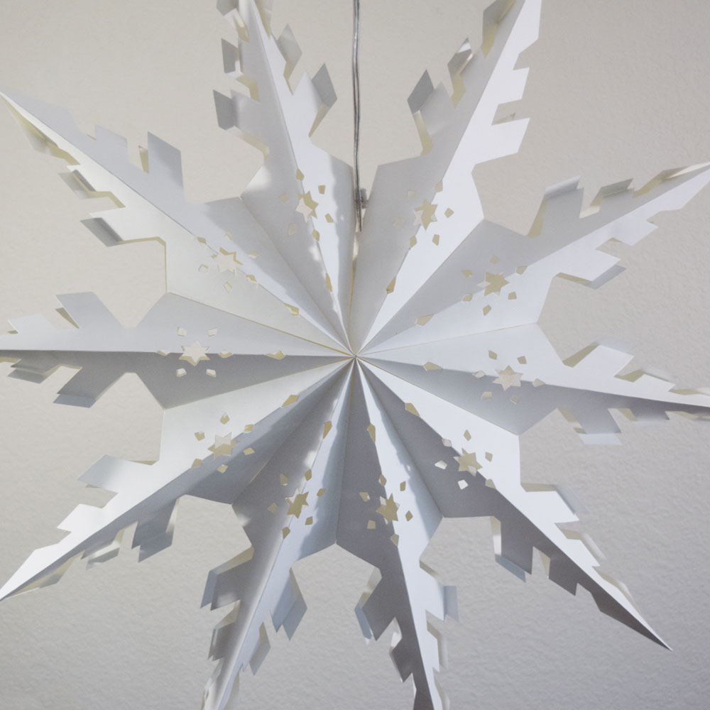 30 White Winter Peppermint Snowflake Paper Star Lantern Hanging Decoration