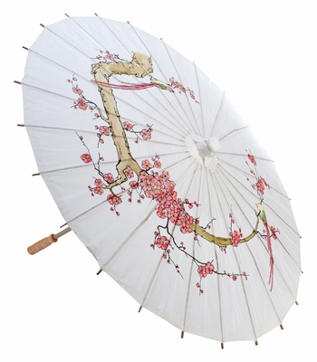 32 Quot White Cherry Paper Parasol Umbrellas On Sale Now