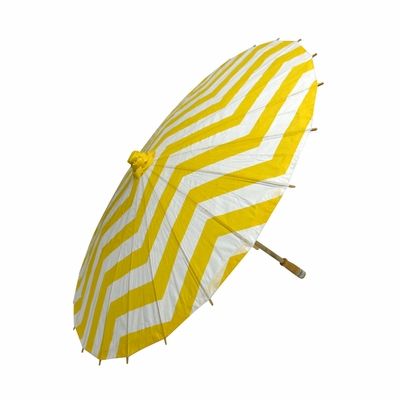32 Inch Yellow Chevron Paper Parasol Umbrellas On Sale Now