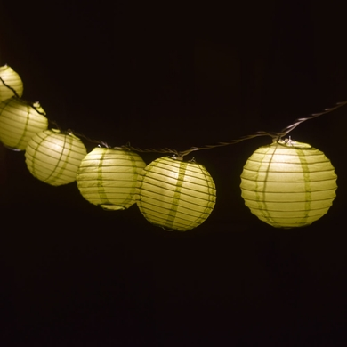 10 Socket Chartreuse Round Paper Lantern Party String Lights (4