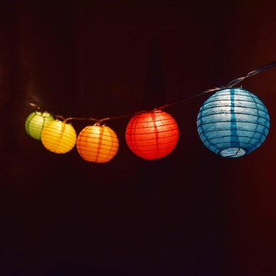 String Lights With Lanterns : 10 Socket Multi-Color Round Paper Lantern Party String Lights (4