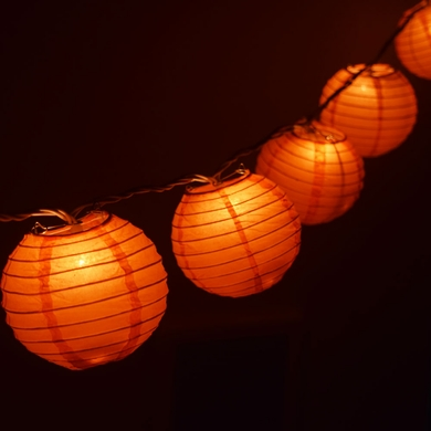 10 Socket Orange Round Paper Lantern Party String Lights (4