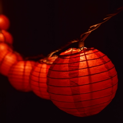 10 Socket Red Round Paper Lantern Party String Lights 4
