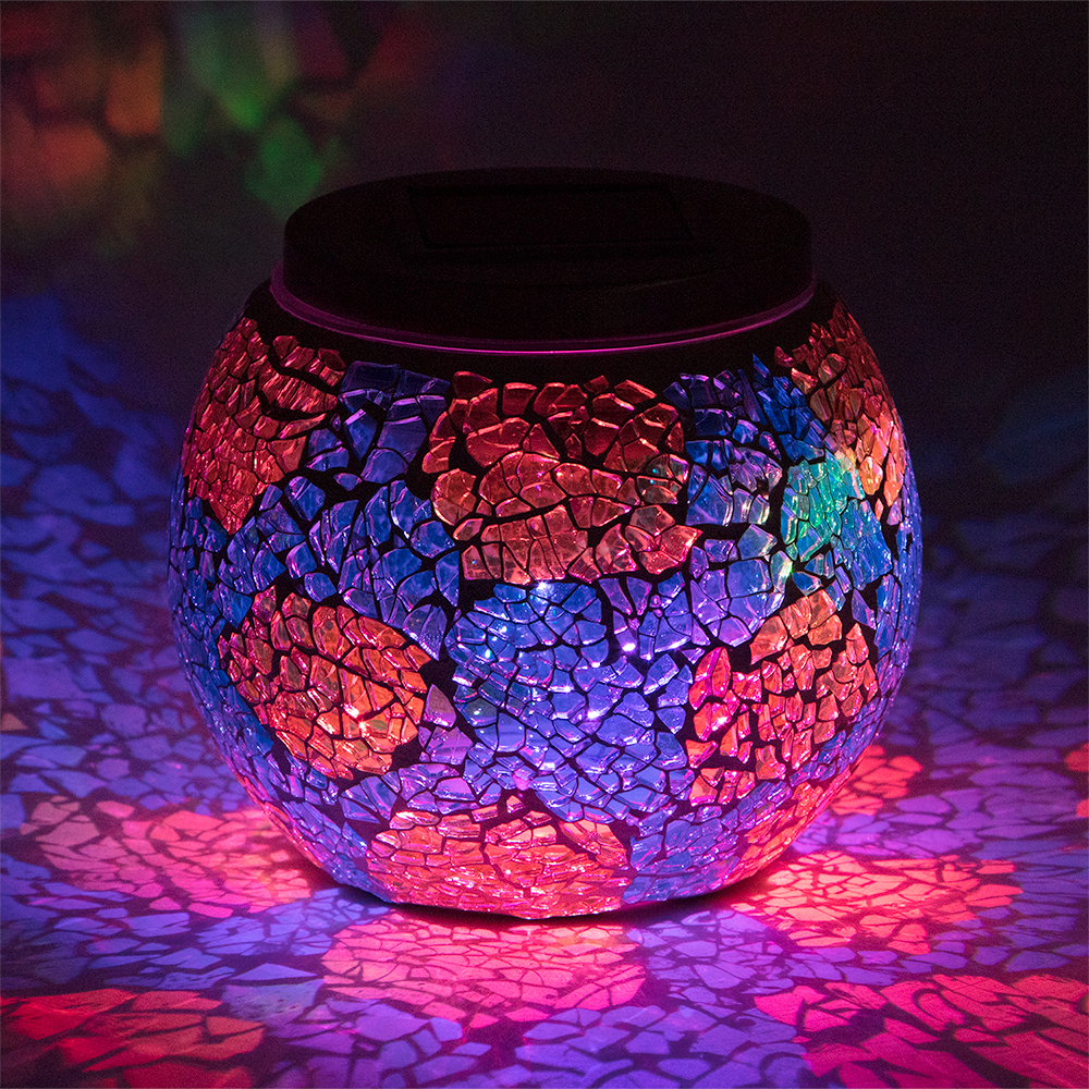 4 Inch Solar Powered Mosaic Multi Color Shattered Glass