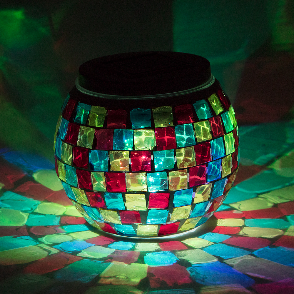 4 Inch Solar Powered Mosaic Multi Color Square Glass Tea Led Table Light Battery Operated
