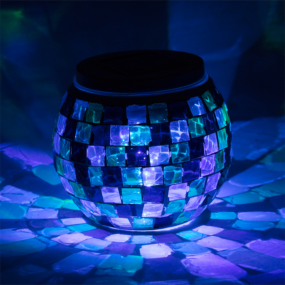 4 Inch Solar Powered Mosaic Multi Color Square Glass Tea