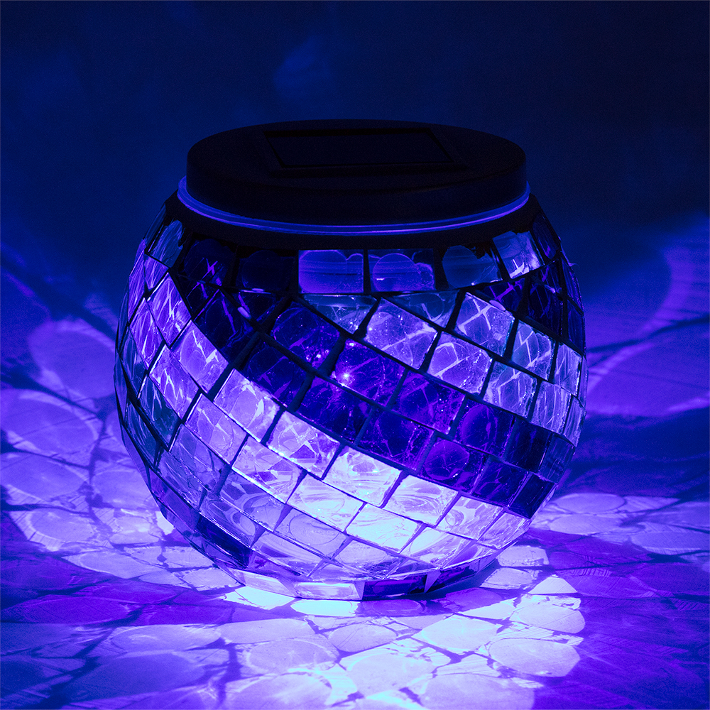 4 Quot Solar Powered Mosaic Multi Color Swirl Glass Tea Led
