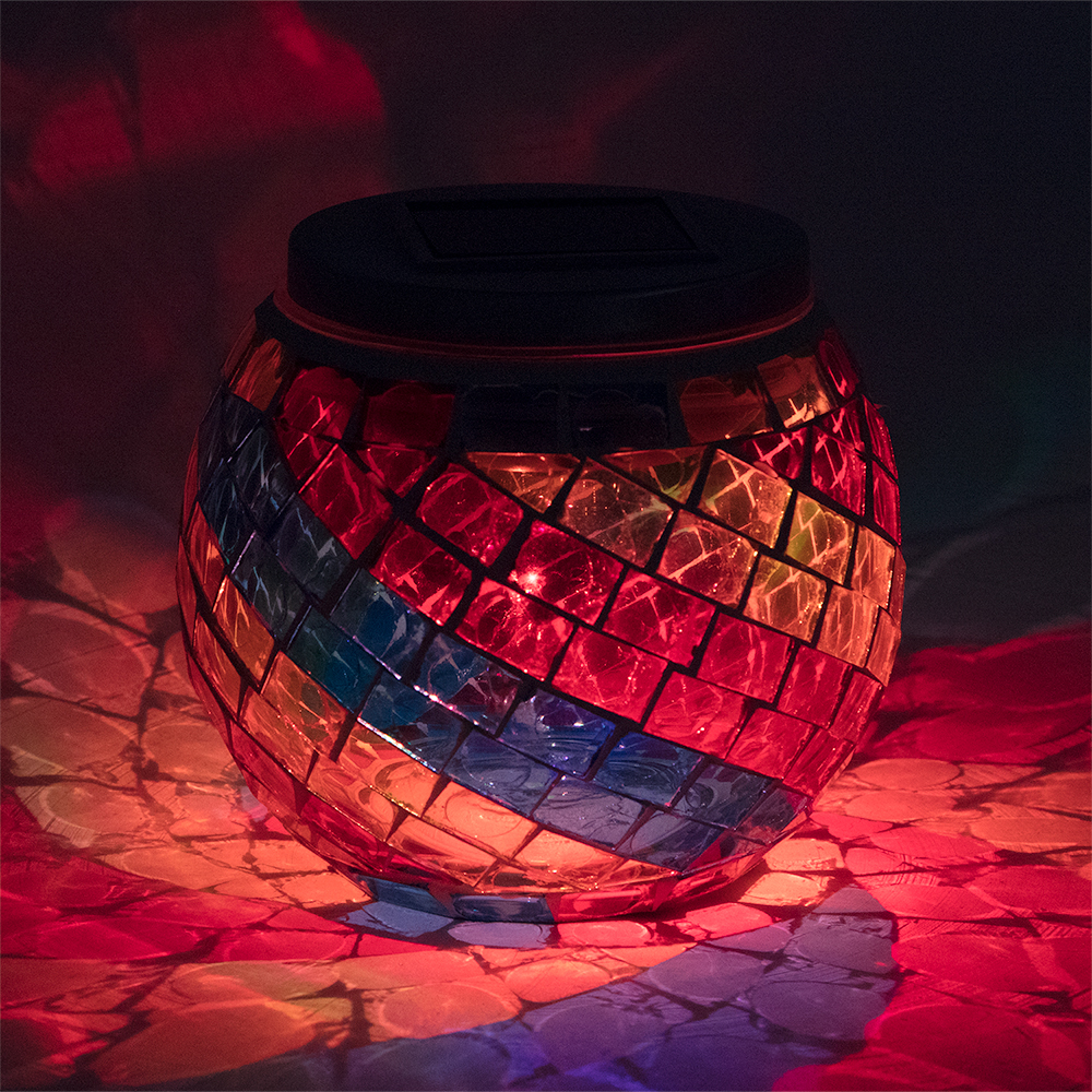 4 Inch Solar Powered Mosaic Multi-Color Swirl Glass Tea
