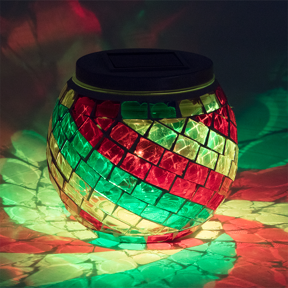 4 Inch Solar Powered Mosaic Multi Color Swirl Glass Tea