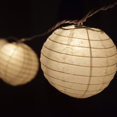 10 Socket White Round Paper Lantern Party String Lights (4