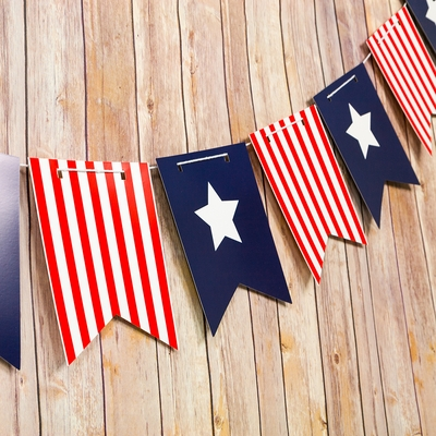 4th Of July Red White And Blue Guidon Flag Pennant Banner
