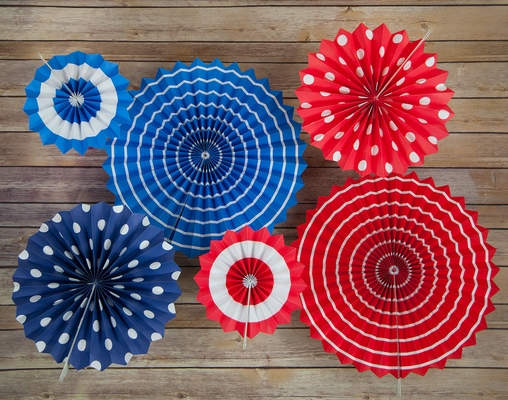 4th of July Red, White and Blue Paper Flower Backdrop Party Wall ...