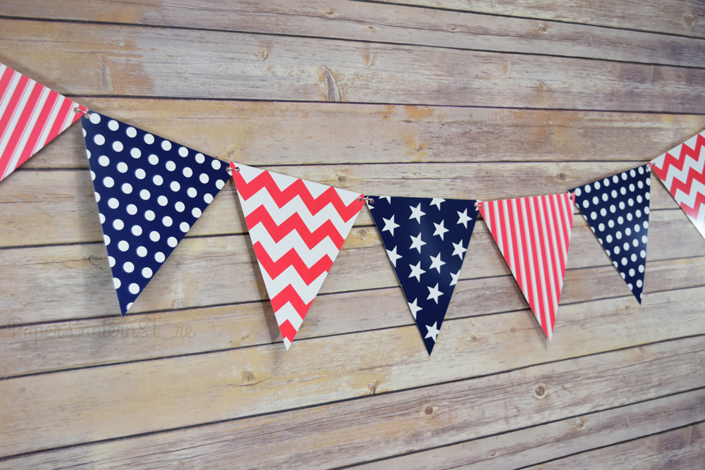 4th of july red white and blue triangle flag pennant banner 11ft. Black Bedroom Furniture Sets. Home Design Ideas