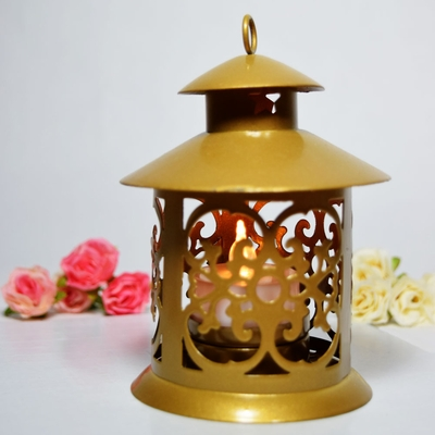 5 Round Tealight Hurricane Candle Lantern Gold On Sale