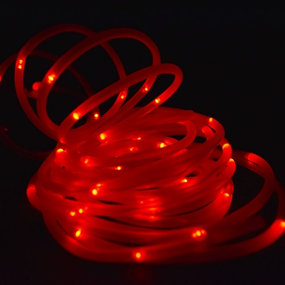 50 Red Led Solar Powered Garden Stake Rope Tube String