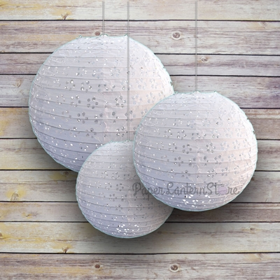 6 8 10 Quot White Eyelet Lace Look Round Paper Lanterns Even