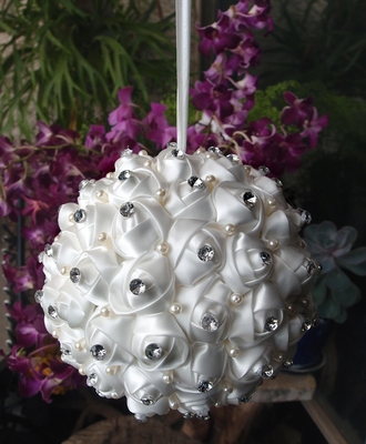 6 Inch White Satin Kissing Ball W Rhinestone And Pearls