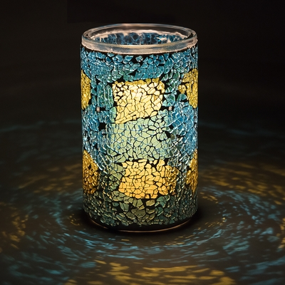6 Inch Yellow And Turquoise Mosaic Shattered Glass Votive