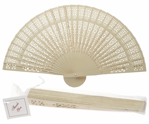 8 Inch Beige Ivory Chinese Folding Wood Panel Hand Fan W White Organza Bag For