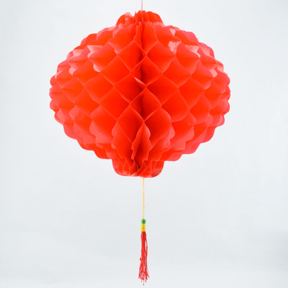 8 red chinese new year honeycomb lantern decoration plastic 6 pack - Chinese New Year Lanterns