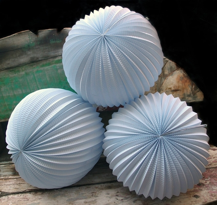 8 Inch White Accordion Paper Lantern Balls 3 Pack On