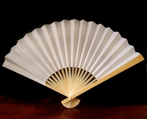 9 Inch Beige Ivory Paper Hand Fans For Weddings Premium