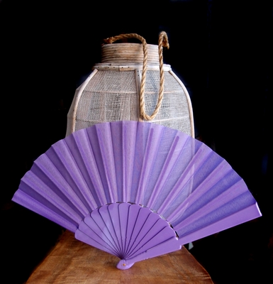 9 Quot Lavender Nylon Hand Fans For Weddings 10 Pack On Sale