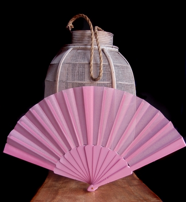 9 Quot Pink Nylon Hand Fans For Weddings 10 Pack On Sale Now