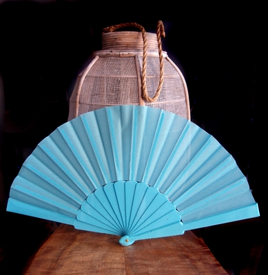 9 Inch Water Blue Nylon Hand Fans For Weddings 10 Pack