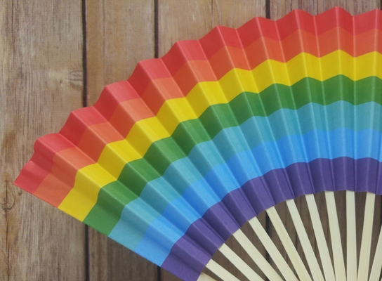 9 Inch Rainbow Multi Color Paper Hand Fans For Weddings