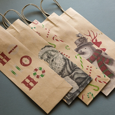 Assorted Wine Bottle Gift Bags W Handle Kraft Paper