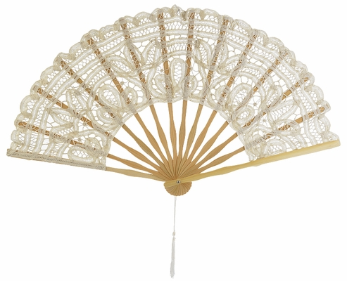 11 Inch Beige Ivory Chinese Folding Lace Hand Fan For