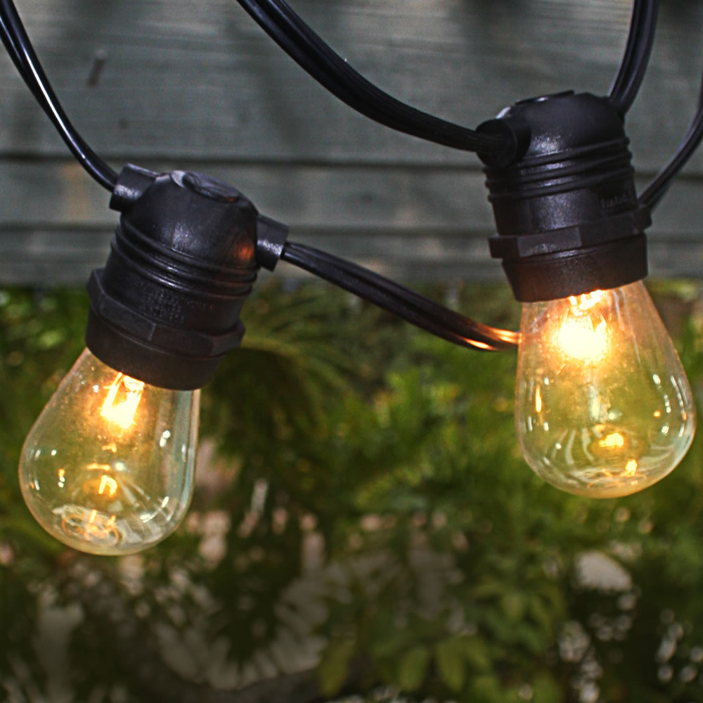 Outdoor String Lights Large Bulbs : Black 54 Commercial Grade Heavy-Duty Outdoor String Lights w/ 24 Sockets (Bulbs Included)