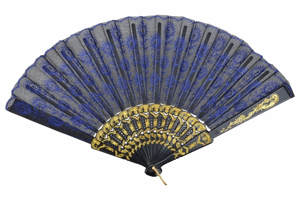 9 Quot Blue Chinese Folding Peacock Feather Hand Fan For