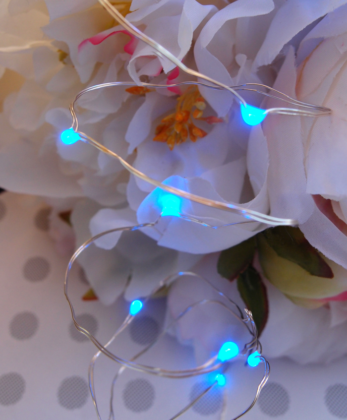 20 Blue LED Fairy String Lights, Wire (6ft, Battery Operated) eBay