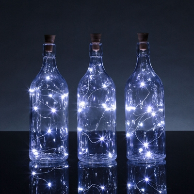 Bulk Pack 3 Solar Powered 15 Cool White Led Cork Wine