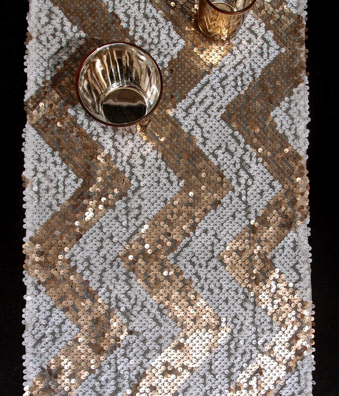 chevron sequin table runner champagne white ebay. Black Bedroom Furniture Sets. Home Design Ideas