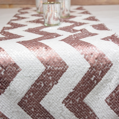 Chevron Sequin Table Runner Pink White 12 X 108 From Paperlantern At The Best Bulk Whole Prices