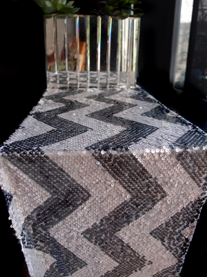 blowout chevron sequin table runner silver grey 12 x 108 on sale now from. Black Bedroom Furniture Sets. Home Design Ideas